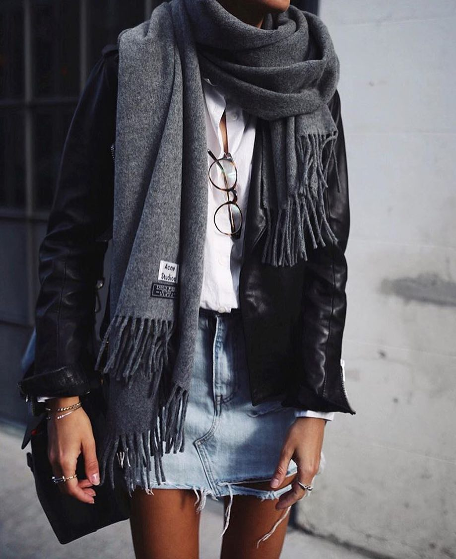 Black Leather Jacket, White Shirt, Denim Skirt And Scarf: Layered Outfit For Spring 2019