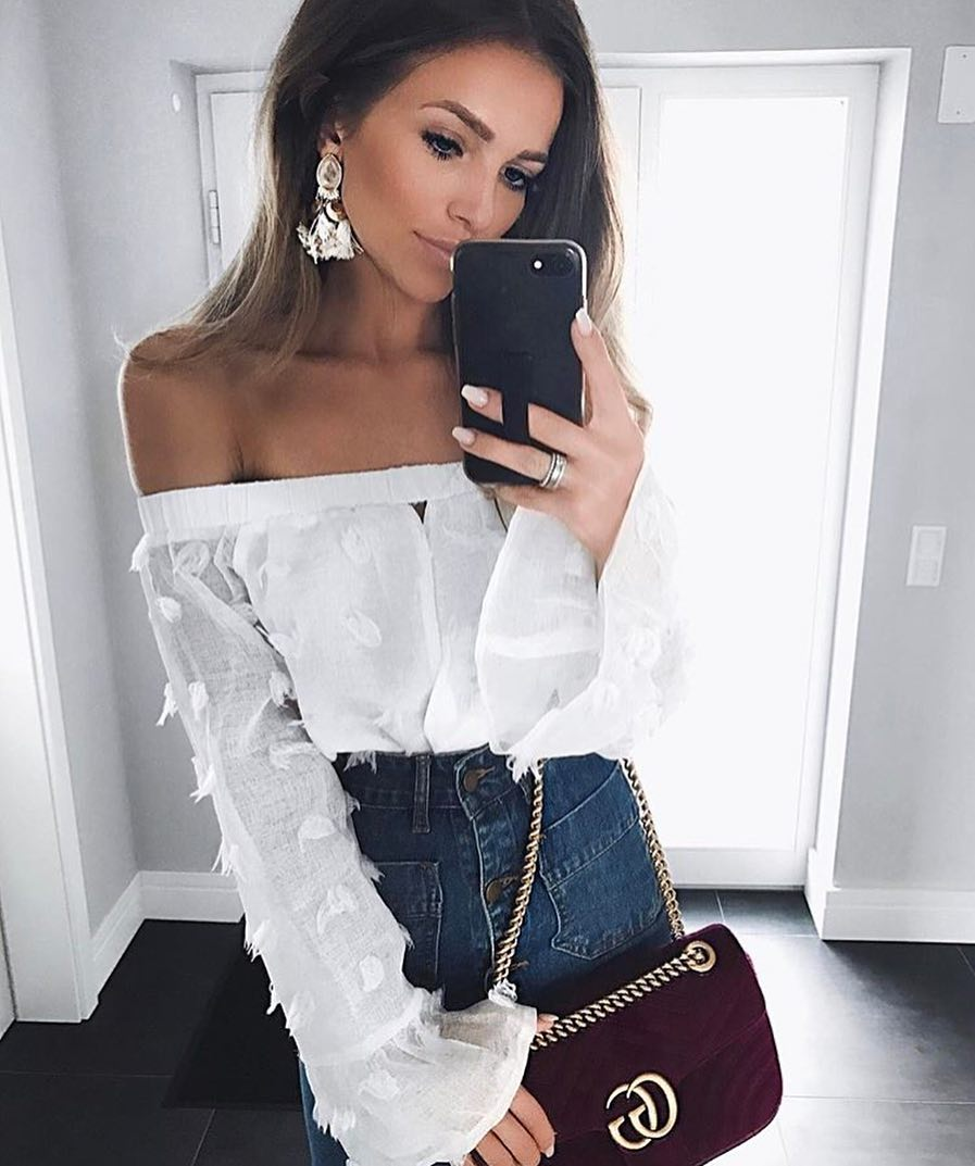 White Off-Shoulder Blouse In Linen Tucked In Front Buttoned Denim Skirt 2019
