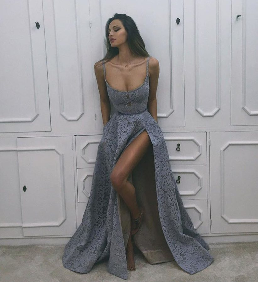 Grey Purple Maxi Lace Dress For Summer Special Part 2019