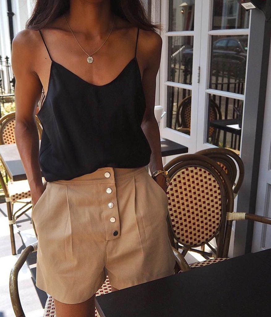 Black Spaghetti Strap Slip Tank Top And Safari Shorts For Summer 2019