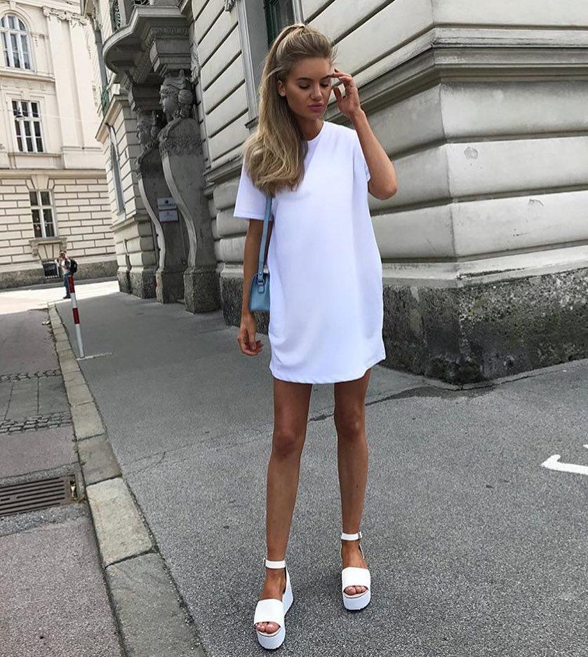 White T-Shirt Dress And White Platform Sandals For Summer 2021