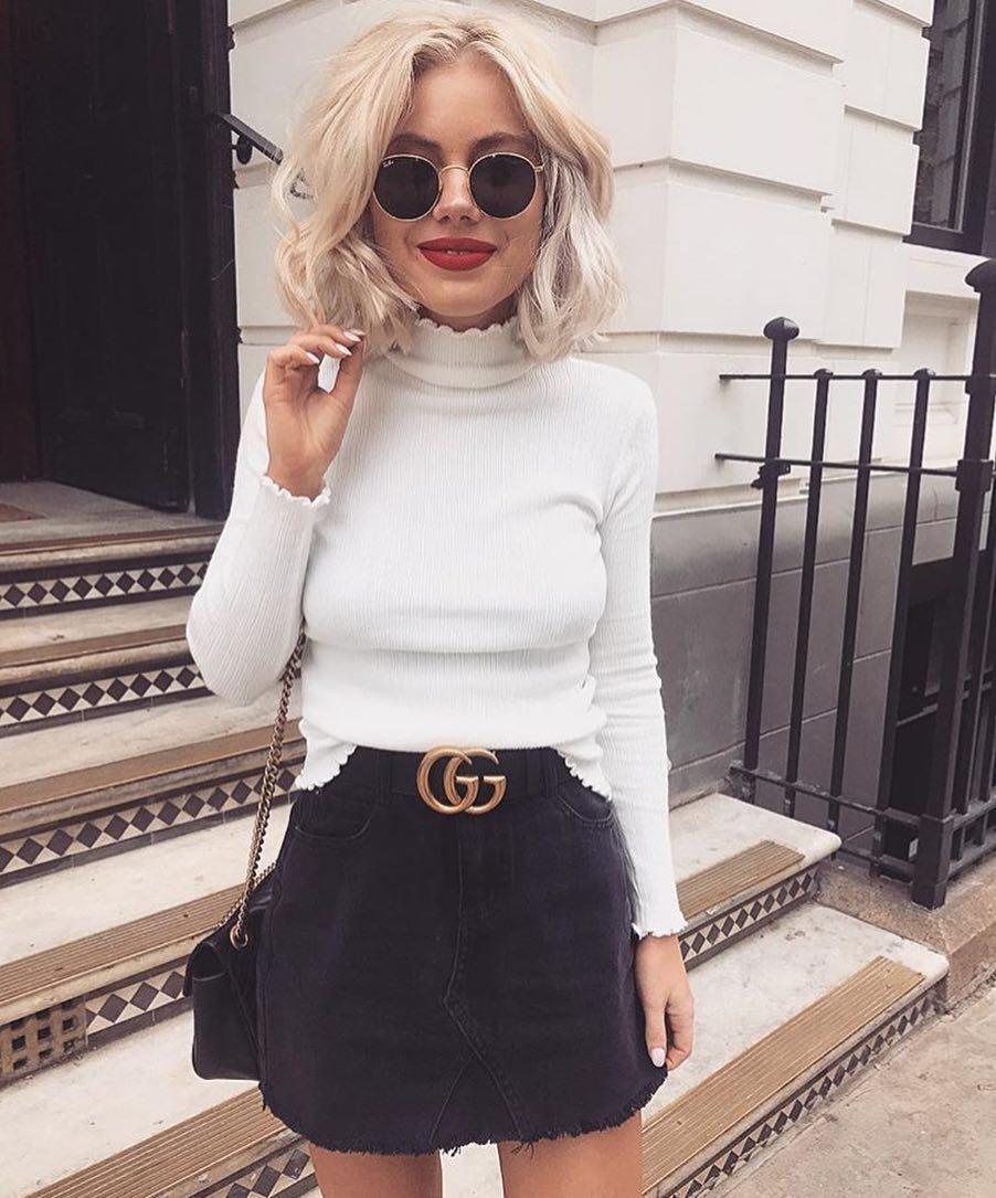 White Slim Sweater And Black Denim Mini Skirt For Summer Casual Street Walk 2019