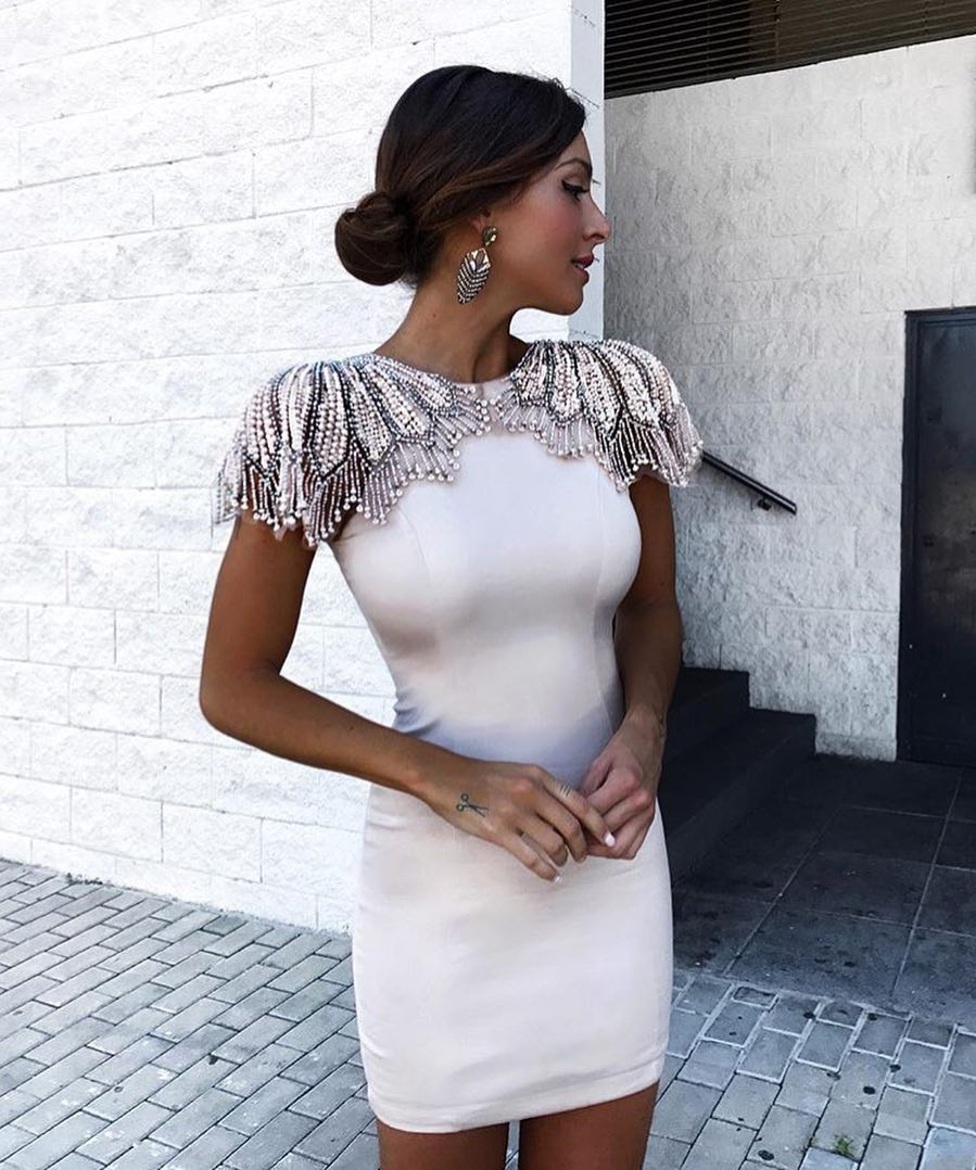 Cream White Pencil Dress With Embroidered Shoulders For Summer Parties 2019