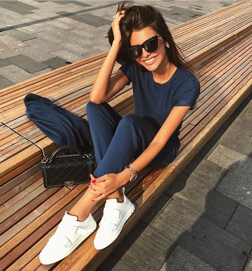 Navy Athleisure Outfit And White Sneakers 2020