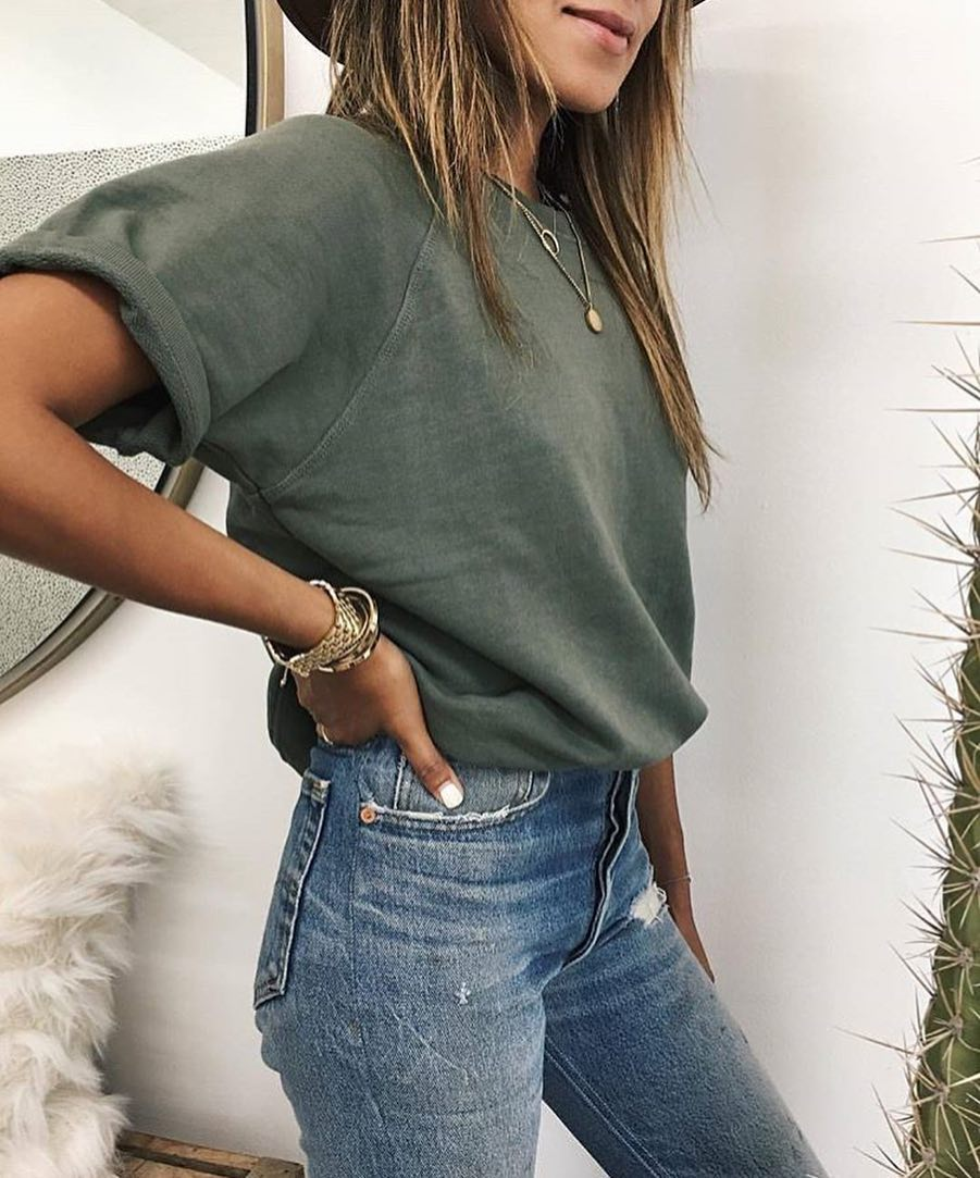 Olive Green T-Shirt Tucked In Blue Skinny Jeans For Summer 2020