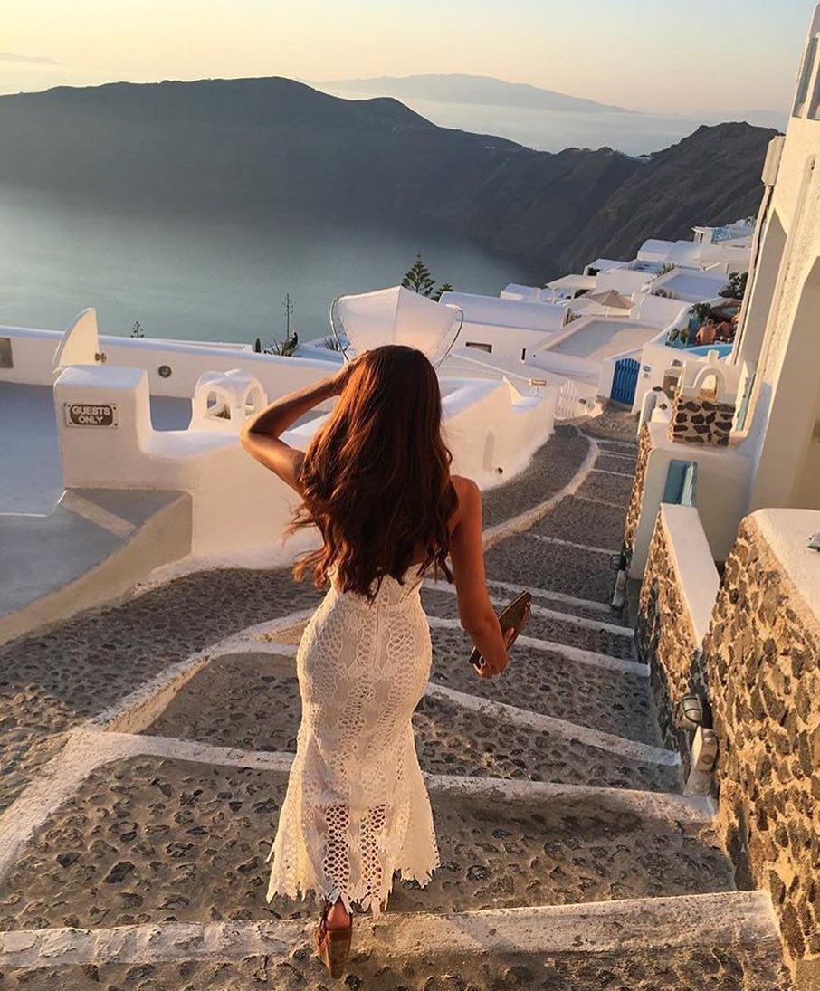 White Strapless Pencil Crochet Dress For Santorini 2019