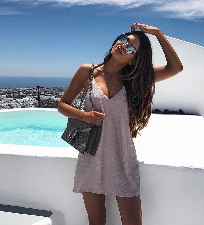 Silver White SlipDress For Summer Santorini Trip 2020