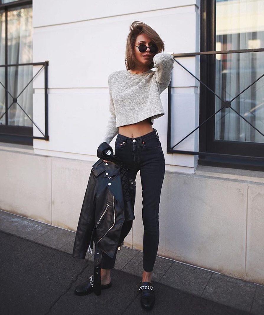 Modern Biker Chic Style: Black Moto Jacket, Grey Sweater, Black Jeans And Loafers 2019