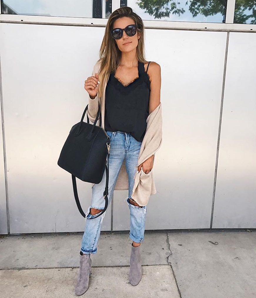 Long Cardigan, Black Slip Tank Top And Knee-Ripped Jeans For Spring 2019