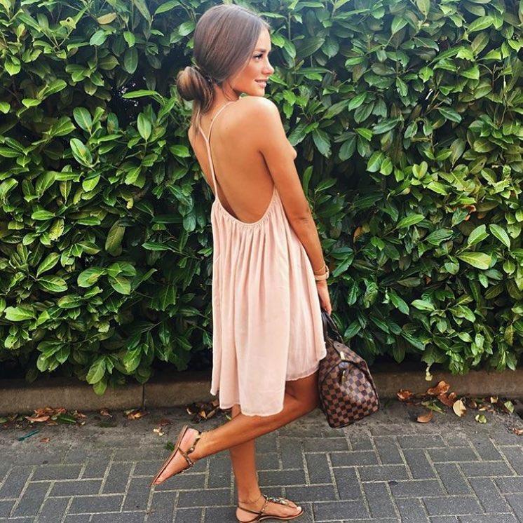 Open Back Blush Dress Made Of Lightweight Fabric For Summer 2020