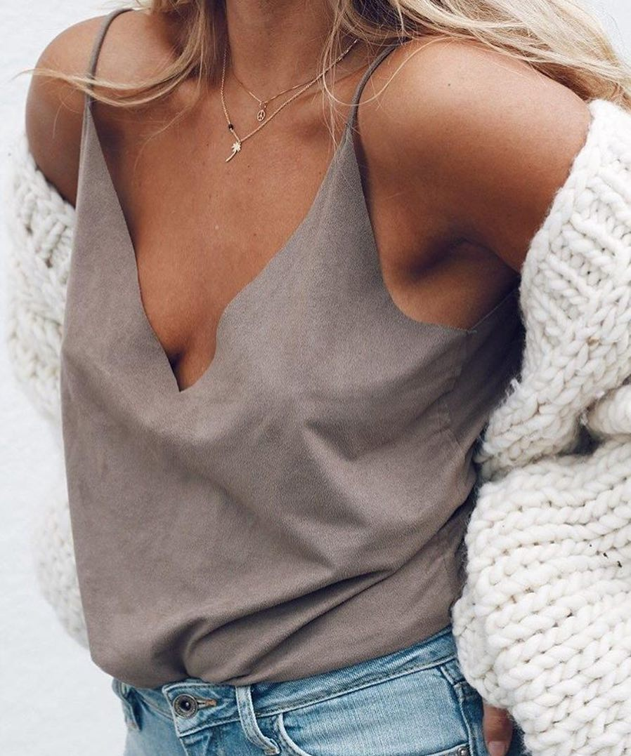 Suede Tank Top In Cream Grey Paired With Blue Jeans For Summer 2019