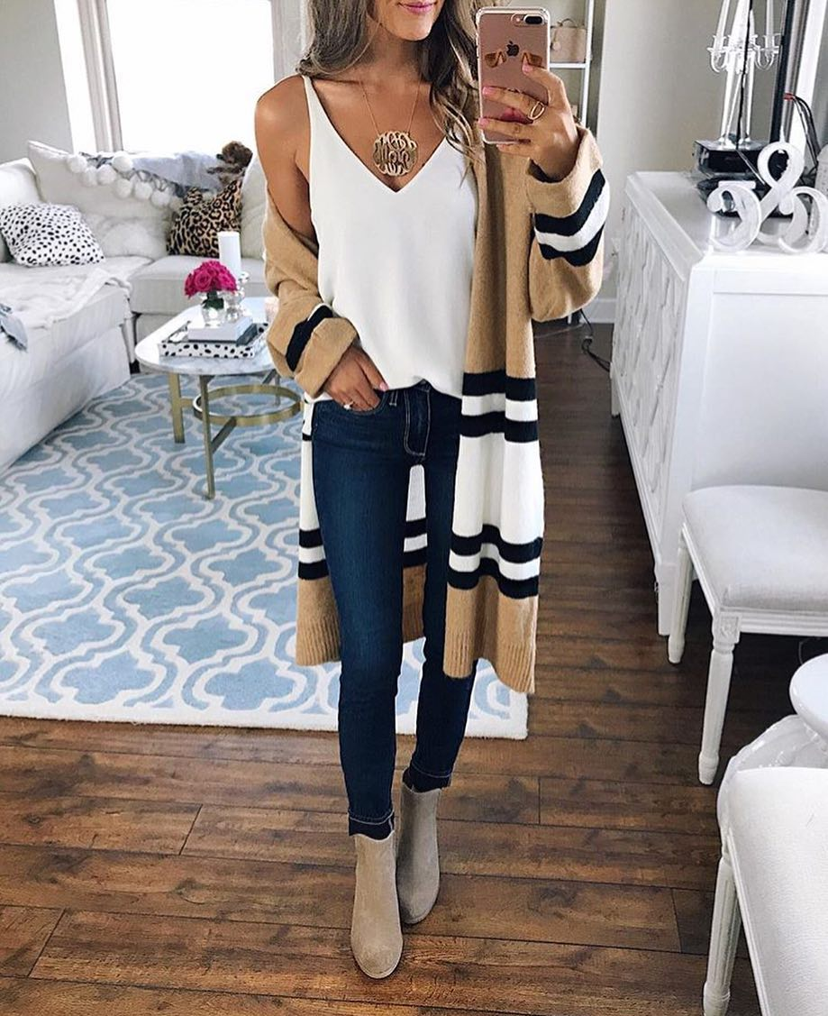 Striped Cardi Coat With White Sliptank, Blue Skinny Jeans And Grey Suede Booties 2019