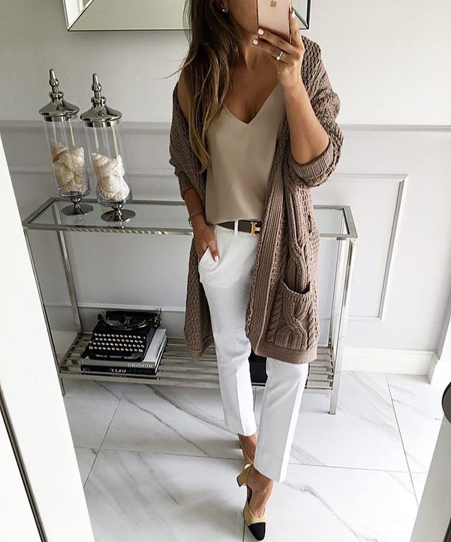 How To Wear White Pants With Casual Knitted Cardigan This Spring 2019