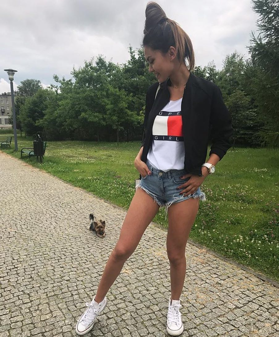 22aafd7e4831 How To Wear Black Bomber With Denim Shorts And White Trainers This Summer  2019
