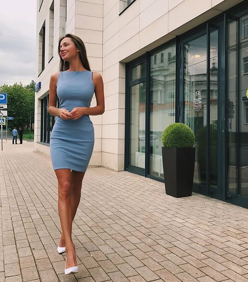 Light Blue Sleeveless Pencil Dress And White Pumps For Summer 2019