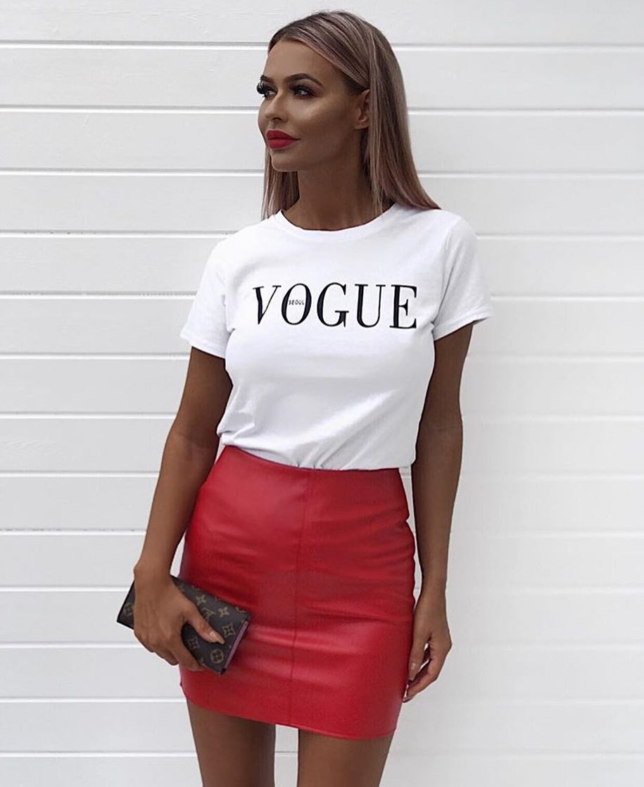 Red Leather Mini Skirt For Summer 2019