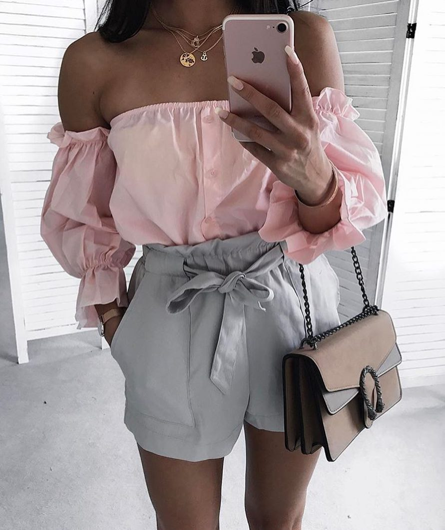 Pastel Grey Gathered Shorts And Pink Off Shoulder Blouse For Summer 2020