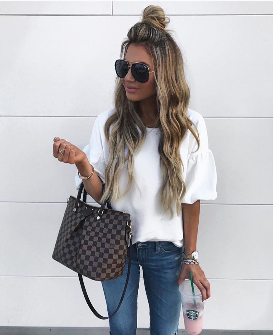 White T-Shirt With Puffy Sleeves For Summer Day Walks 2020