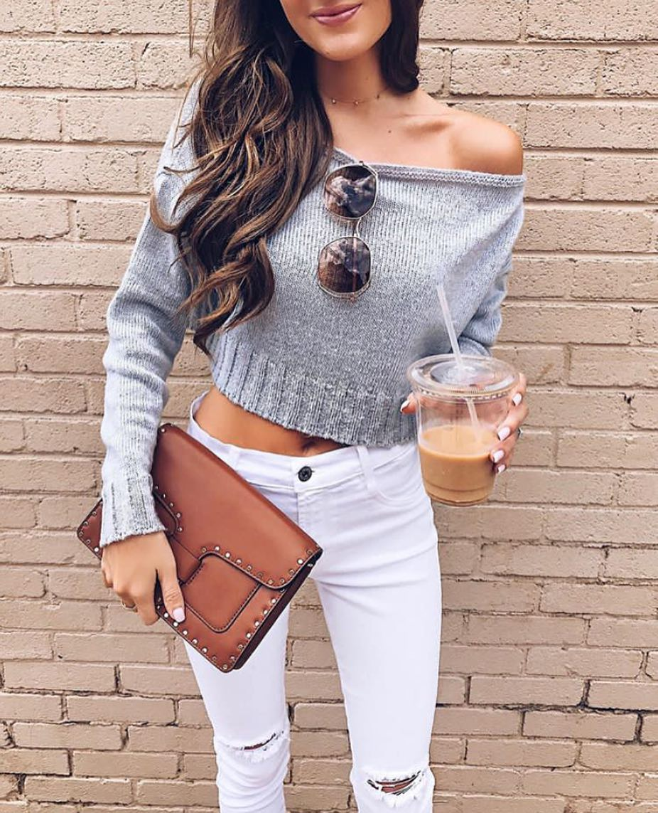 Grey Off Shoulder Crop Sweater And White Knee Ripped Skinny Jeans For Summer 2020