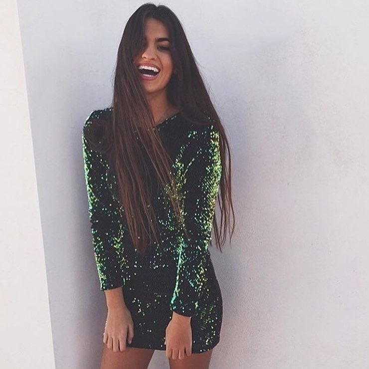Sequined Dark Green Mini Dress With Long Sleeves For Cocktail Parties 2019