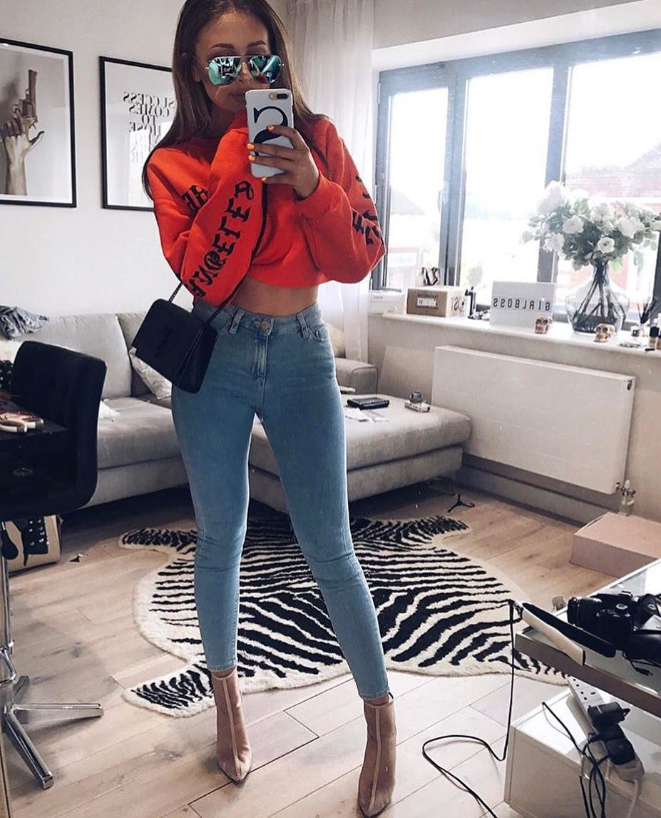 Crop Sweater, Blue Skinnies And Clear Booties For Spring 2019