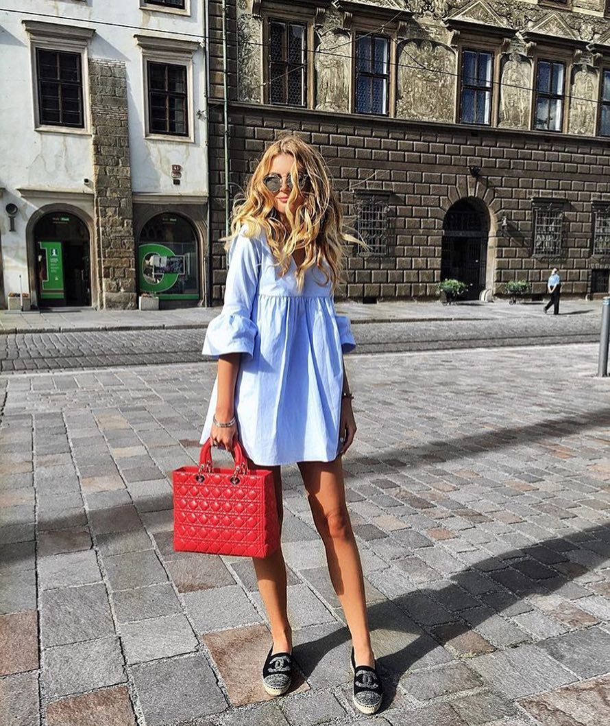 1/2 Puff Sleeve Tunic Dress In Light Blue For Summer 2019