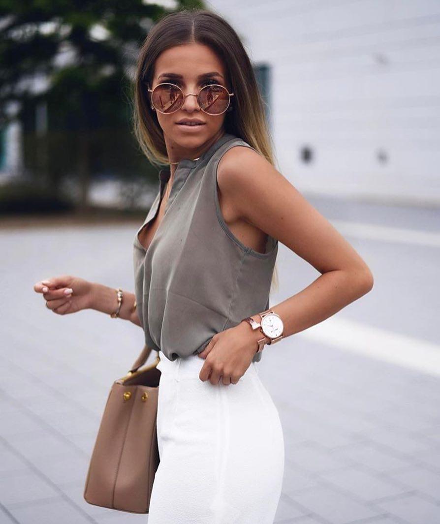 Khaki Beige Sleeveless Blouse And White Pencil Skirt For Summer 2019