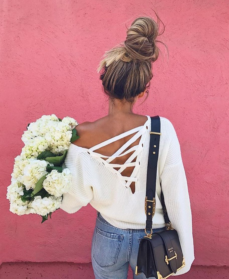 White Oversized Sweater With Lace-up Back For Summer 2020