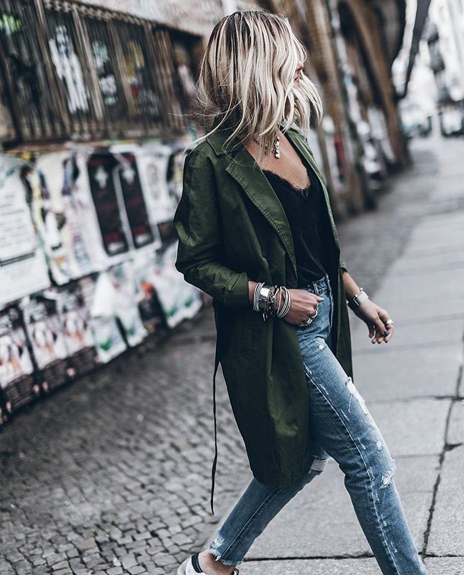 Military Green Coat With Black Top And Blue Jeans For Spring 2020