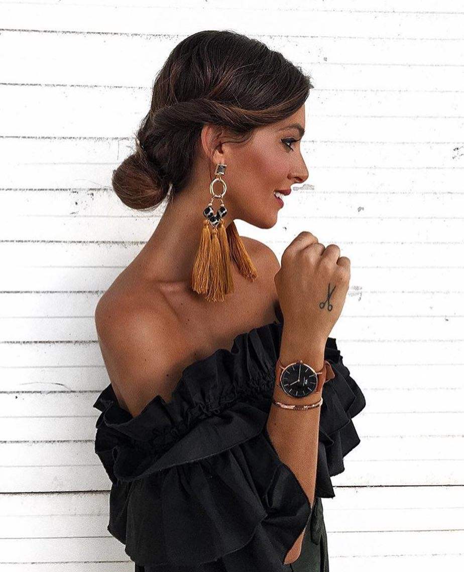 Tasseled Earrings With Black Off Shoulder Dress For Summer Garden Parties 2019