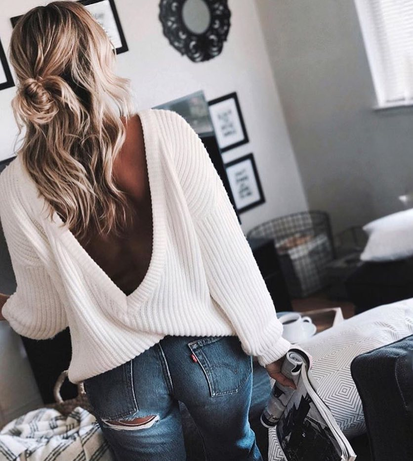 Open V Back Sweater In White For Casual Summer Walks 2019