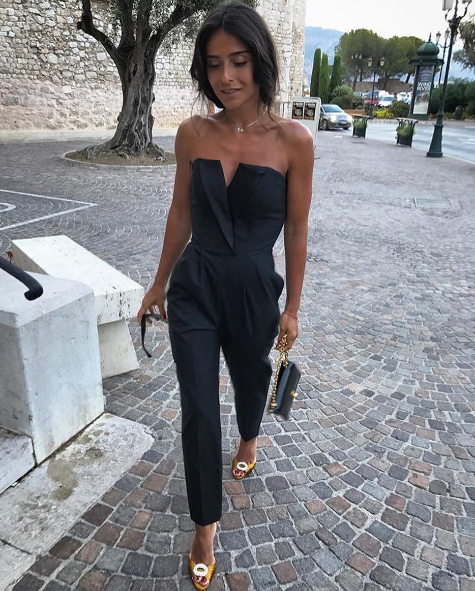 Strapless Jumpsuit In Black For Open Air Events During Summer 2020