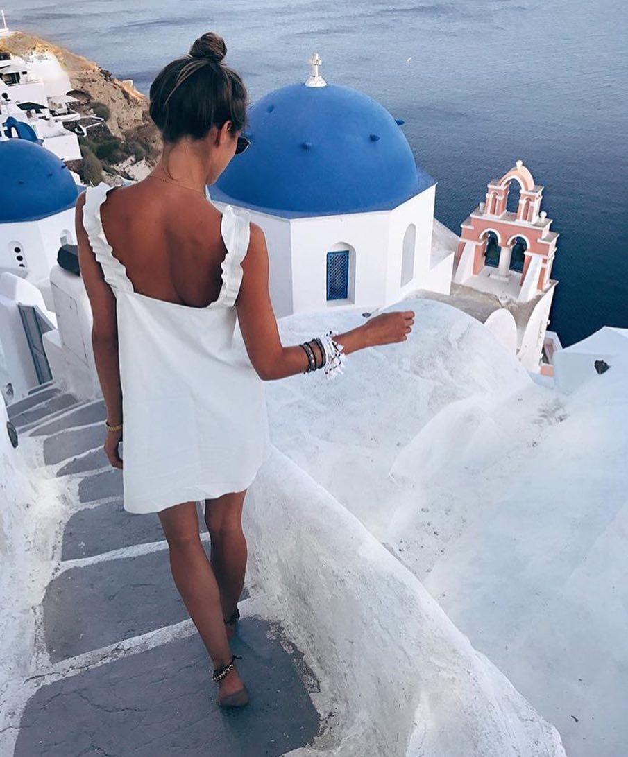 White Dress For Santorini Trip This Summer 2021