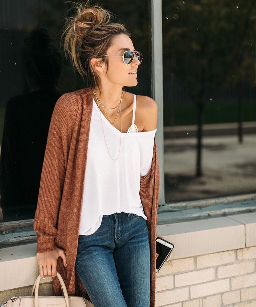 Open Front Cardigan Worn With Off Shoulder Top And Blue Jeans 2020
