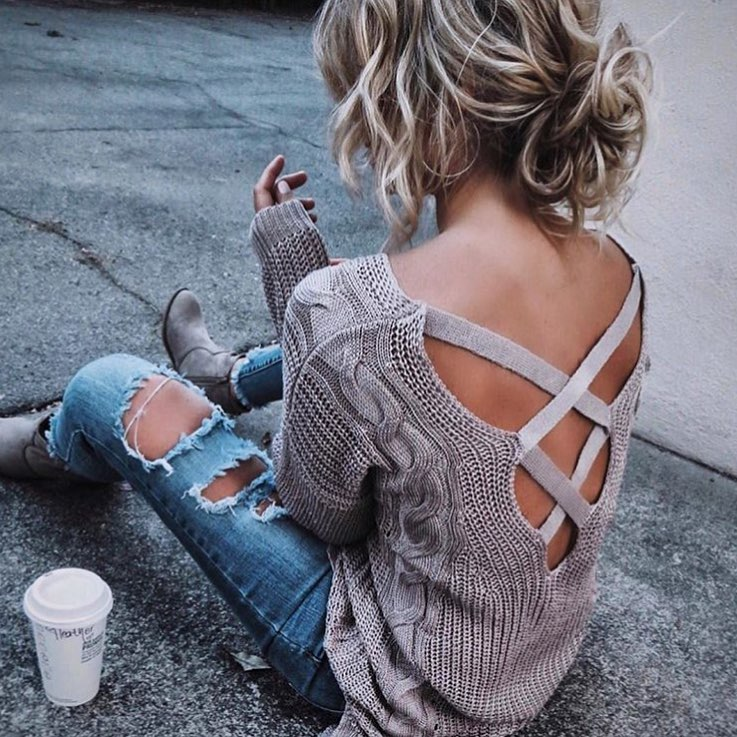Open Back Strappy Grey Sweater And Ripped Skinny Jeans With Grey Boots 2019