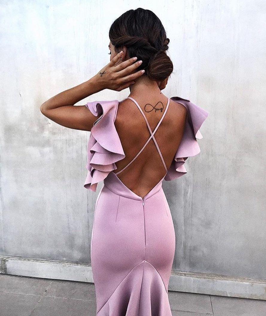 Pastel Purple Pencil Dress With Ruffled Details For Summer Weddings 2020