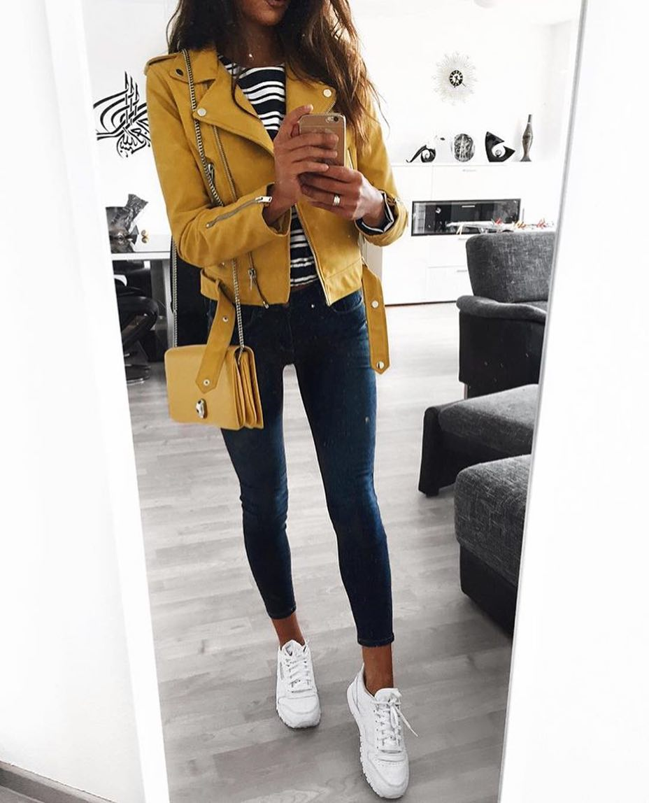 Yellow Biker Jacket With Black-White Striped Top, Skinny Jeans And White Kicks 2020