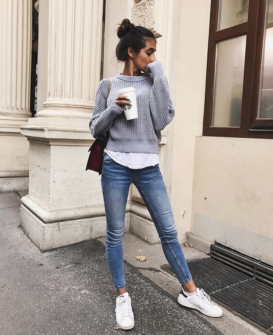 How To Wear Classic Grey Sweater This Spring 2019