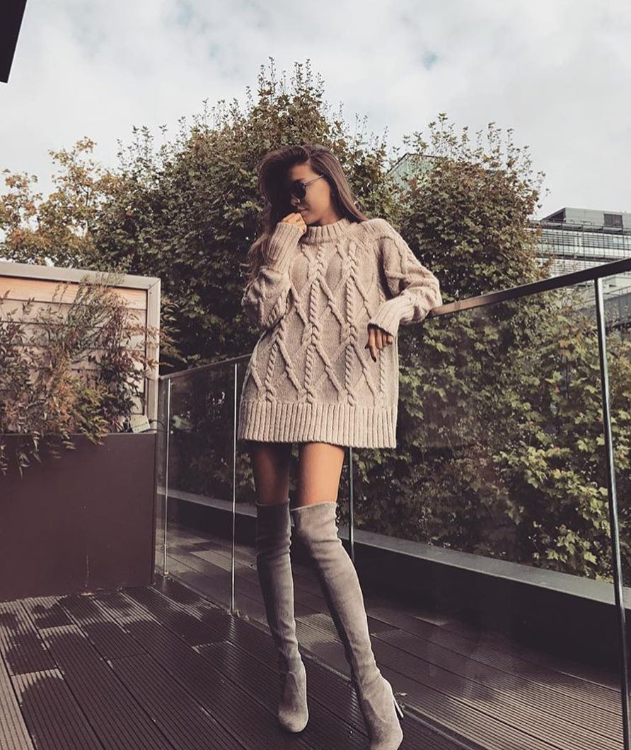 Oversized Cable Knit Sweater Dress And Suede Grey OTK Boots For Fall 2019