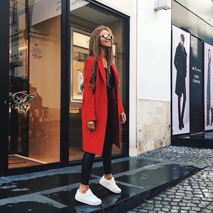 Red Coat With Black Leather Skinny Pants And White Platform Sneakers 2019