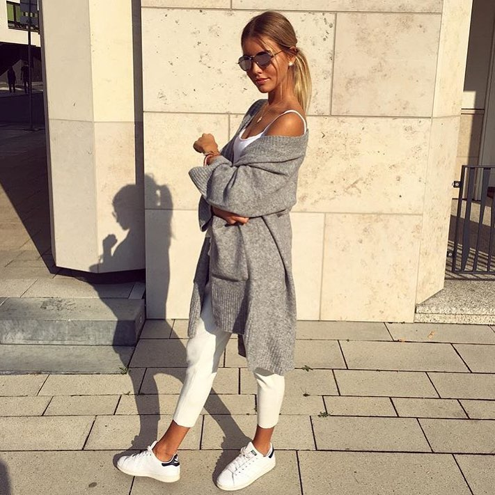 Oversized Grey Cardigan With White Top, White Pants And White Sneakers 2019