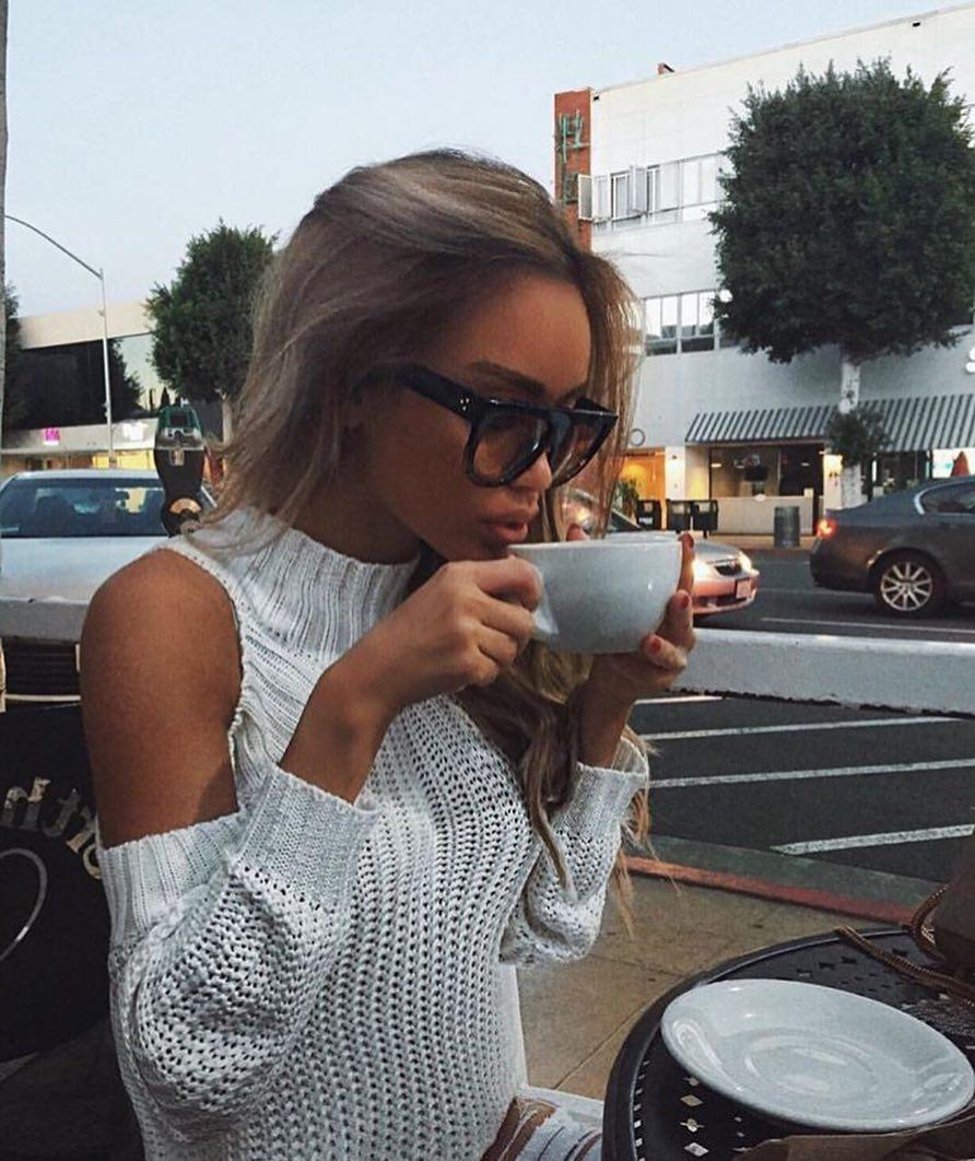 High Neck Cold Shoulder Sweater In Light Grey For Summer 2019