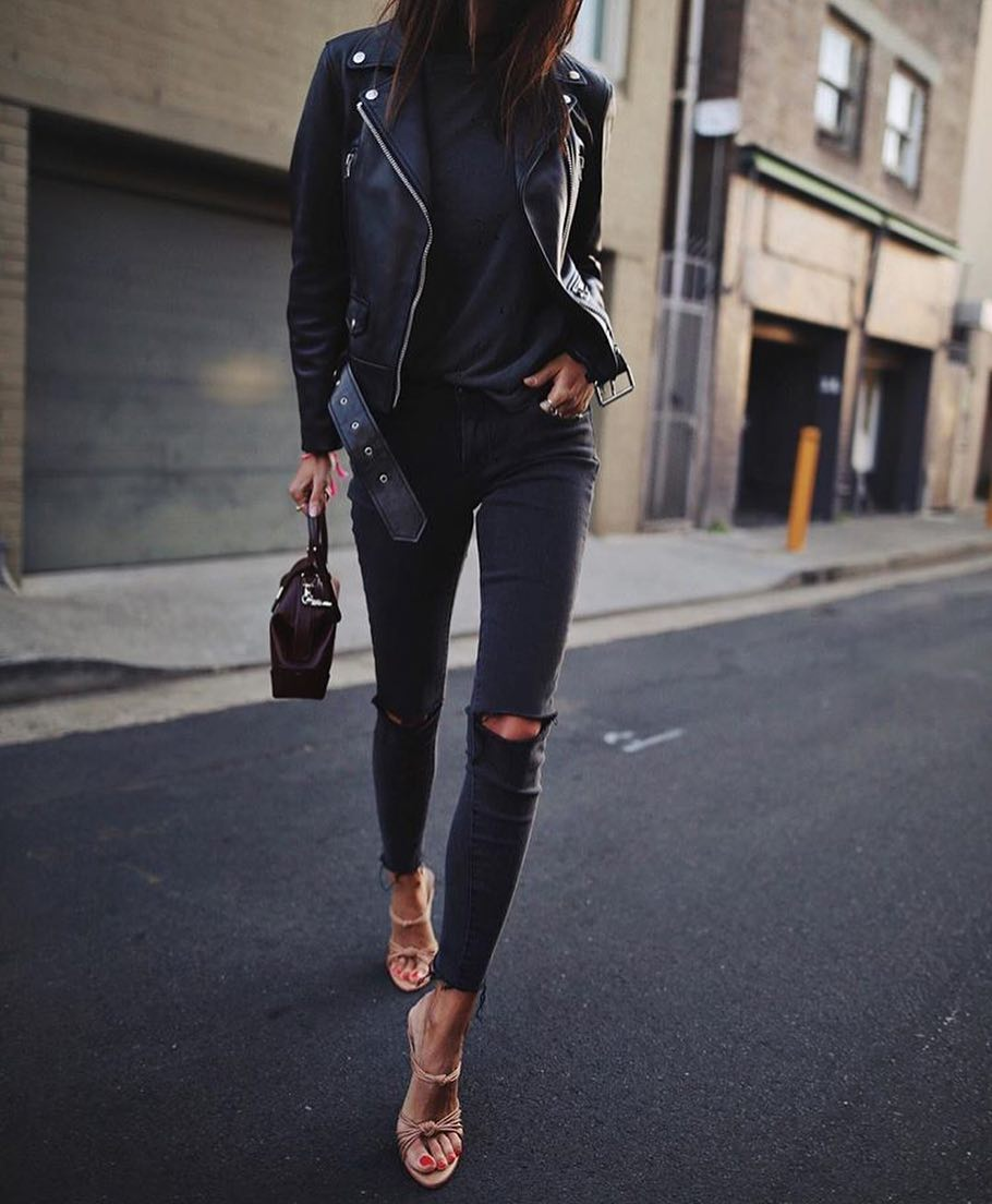 All Black Edgy Look For Spring: Leather Jacket, Knee Ripped Jeans 2021