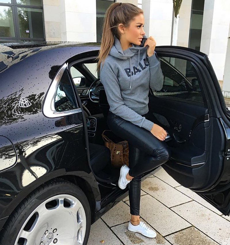 Grey Hoodie With Black Leather Pants And White Sneakers For Spring 2020