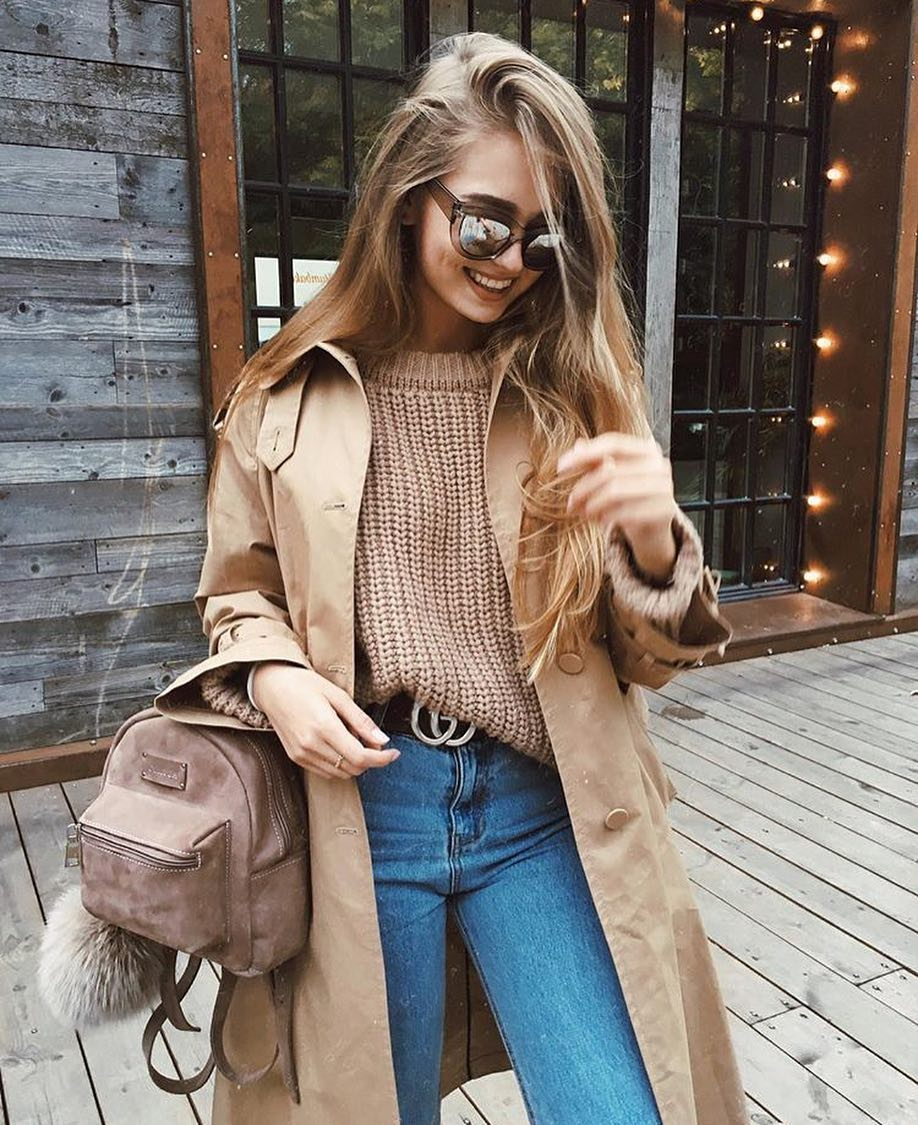Fall Essentials: Camel Trench Coat, Brown Sweater And Blue Jeans 2019