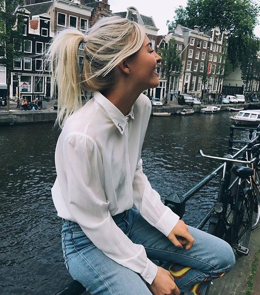 White Shirt And Blue Jeans For Spring In Amsterdam 2019