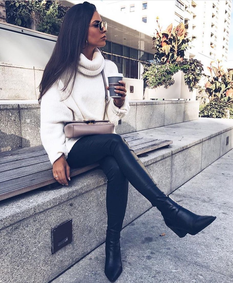 How To Style White Oversized Sweater With Black Leather Pants This Spring 2019