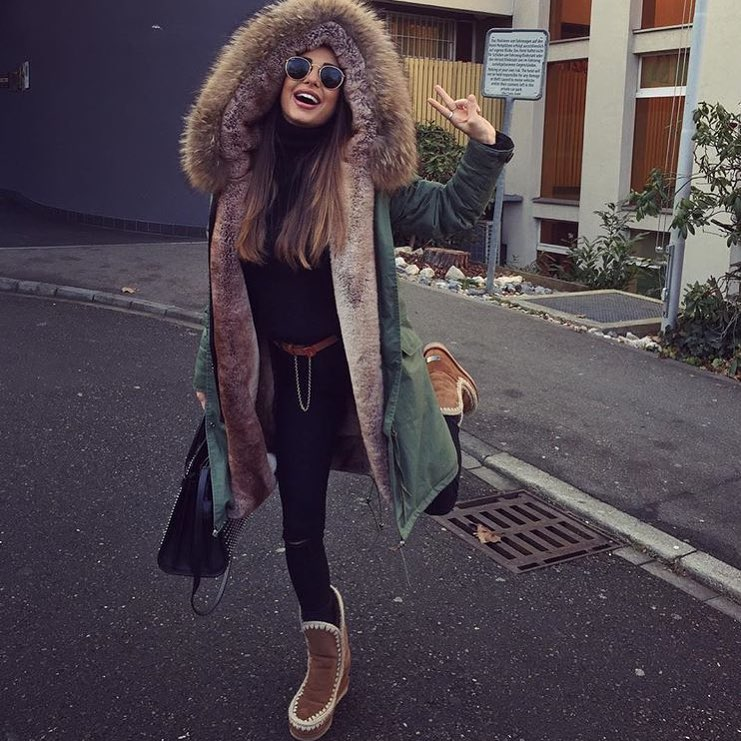 Long Fur Hooded Parka In Green For Autumn 2019
