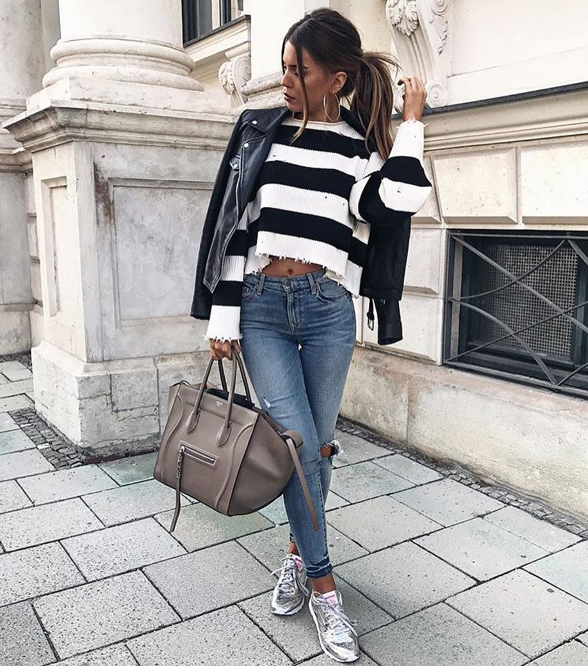Edgy Style For Spring: Leather Jacket, Striped Sweater And Ripped Jeans 2020