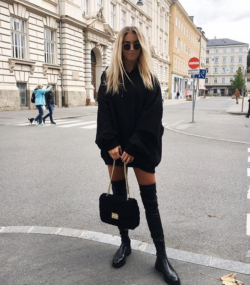 All Black Outfit For Spring: Hoodie Dress, OTK Boots And Rounded Shades 2019